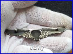 WWII US Army Air Force Sterling Silver Balloon Pilot Wings Made by CWP