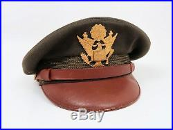 WWII US Officer visor cap dress uniform hat combat Army Air Force corps crusher