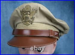 WWII US Officer visor cap jacket hat combat Air Force corp flight weight crusher