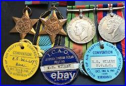 Ww2 R. A. F Air Crew Europe Star Group Boac Badges & Fathers Ww1 Krrc Pair & Ism